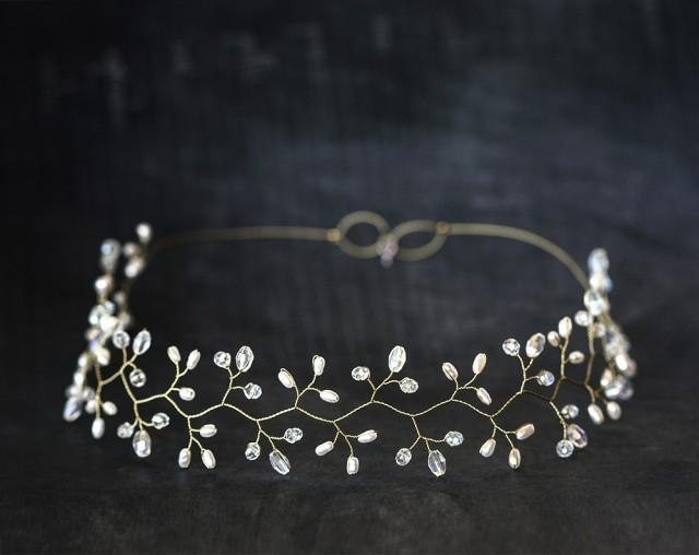 wedding photo - Gold headpiece, Crystal diadem, White Pearl tiara, Wedding diadem, Bridal headpieces, Diadem, Hair accessories, Hair vine, Greece halo, Tiaras