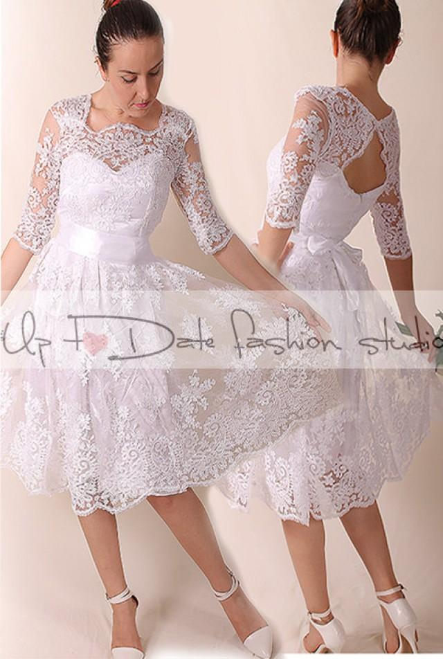 Lace Short Wedding Dress Portrait Back Recepion Knee