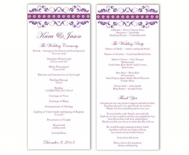 hobby lobby wedding program templates - wedding program template diy editable text word file