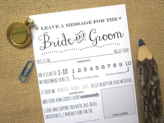 Wedding Advice Card For The Bride And Groom / Guest Book Message ...