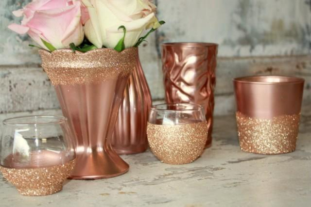 Rose gold wedding decor 6 rose gold dipped vintage vases and votive candle holders table - Rosegold dekoration ...