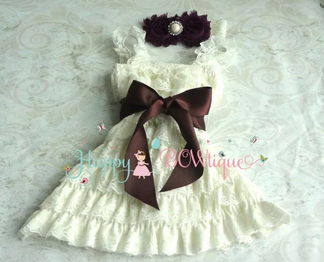 wedding photo - flower girl dress, Dark Ivory Plum Lace Dress set, baby girls' dress,1st Birthday dress, Flower Girls Dress,Ivory dress,Rustic Country dress