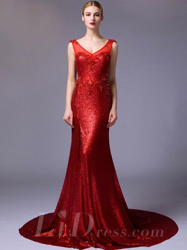 wedding photo - Straps V-neck and V-back Beaded Mermaid Evening Dress