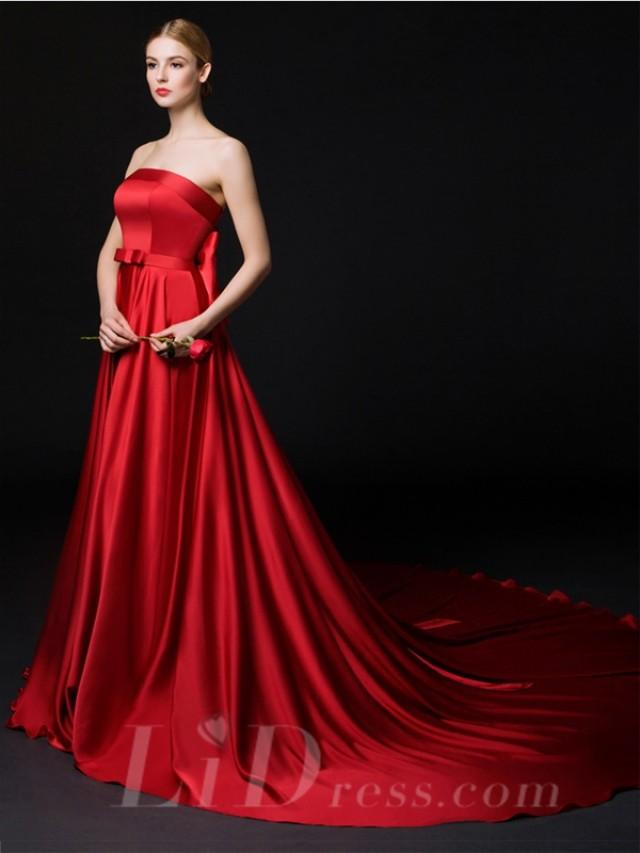 wedding photo - Strapless A-line Evning Dress