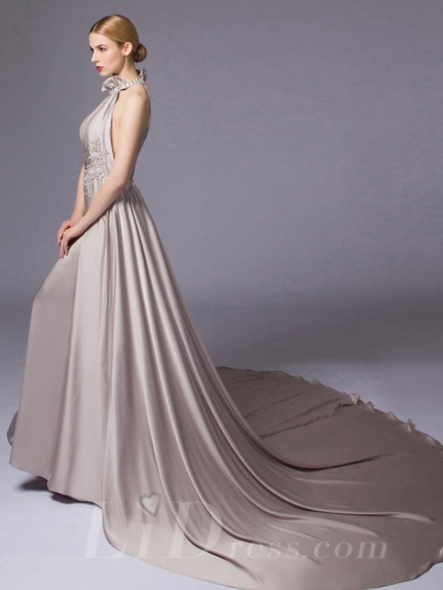 wedding photo - Halter Neckline A-line Evening Dress