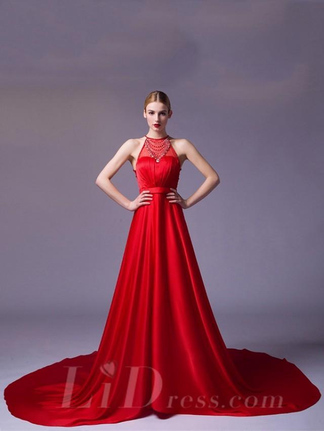 wedding photo - Illusion Halter Neckline Red A-line Evening Dress
