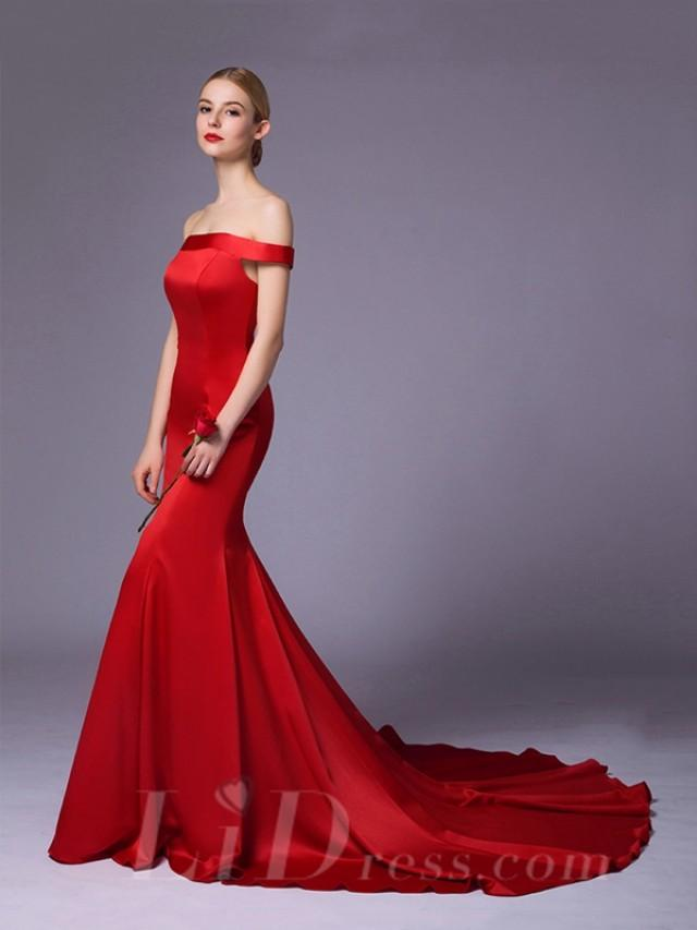 wedding photo - Off the Shoulder Red Long Evening Dress