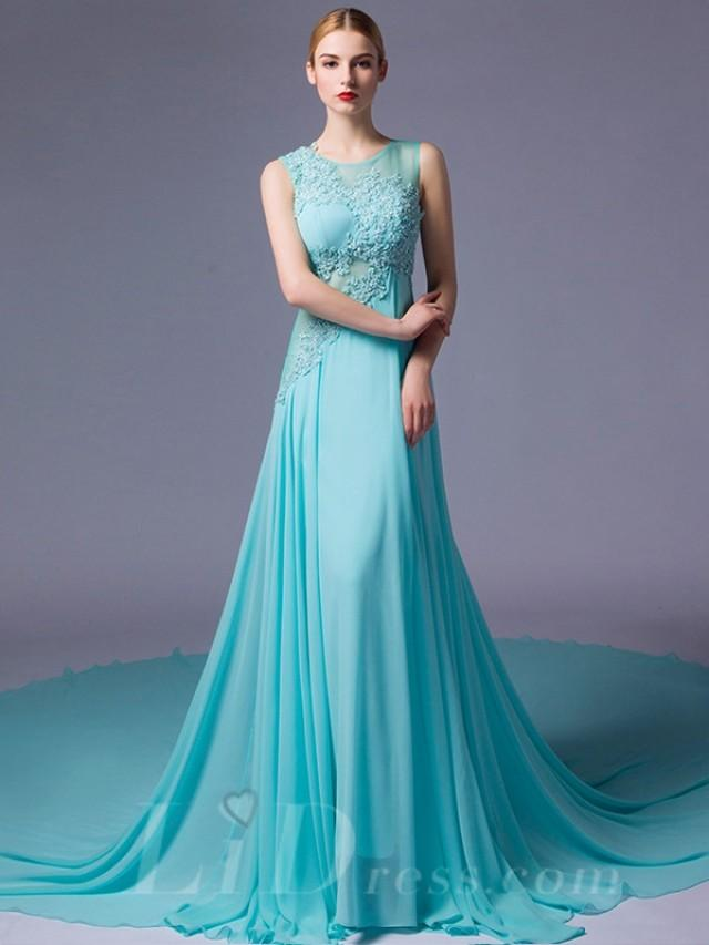 wedding photo - Illusion Neckline Lace Appliques A-line Evening Dress