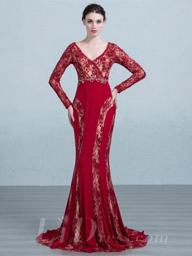 wedding photo - Lace Long Sleeves V Neckline Evening Dress with Keyhole Back