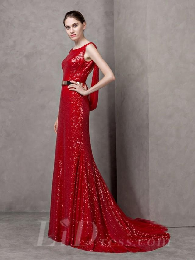 wedding photo - Boat Neckline Lace Long Evening Dress with Open Back