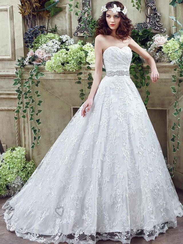 wedding photo - Modern Sweetheart Princess 2016 Wedding Dress Lace-up Beadings Bowknot