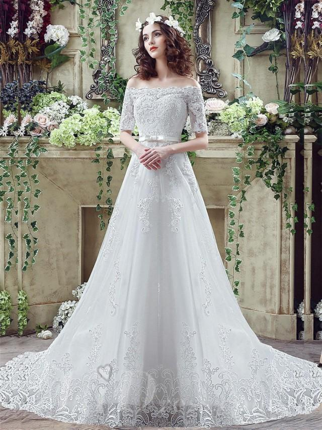 wedding photo - Elegant Off-the-shoulder Lace Appliques Wedding Dress 2016 Bowknot Lace-up