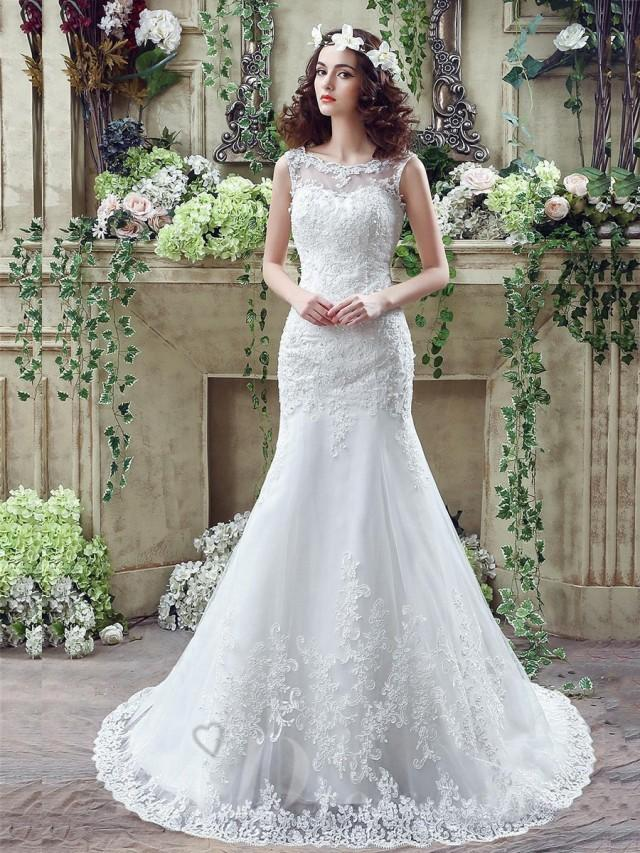 wedding photo - Timeless Mermaid Lace 2016 Wedding Dress Zipper Button Back Sweep Train