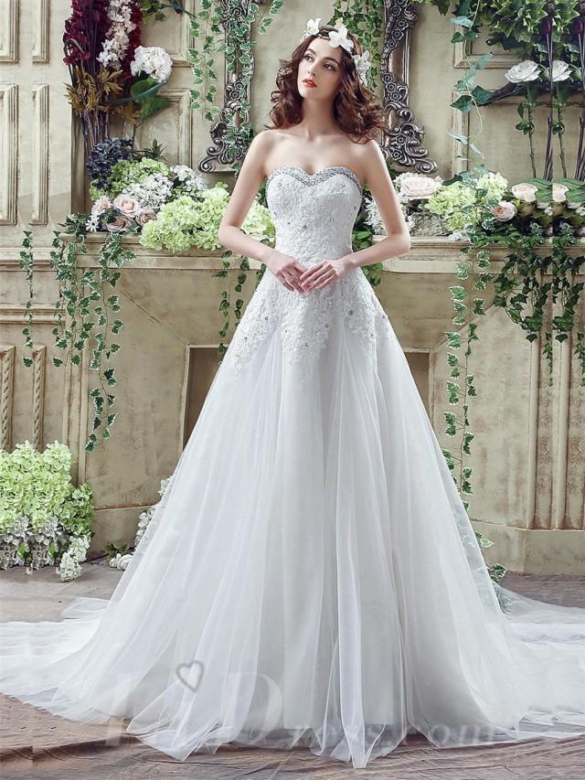 wedding photo - Glamorous Sequined Lace Tulle 2016 Wedding Dress Court Train Lace-up