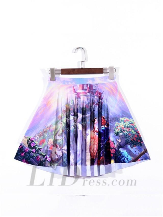 wedding photo - Digital Beauty And The Beast Pleated Skirts Skt1112