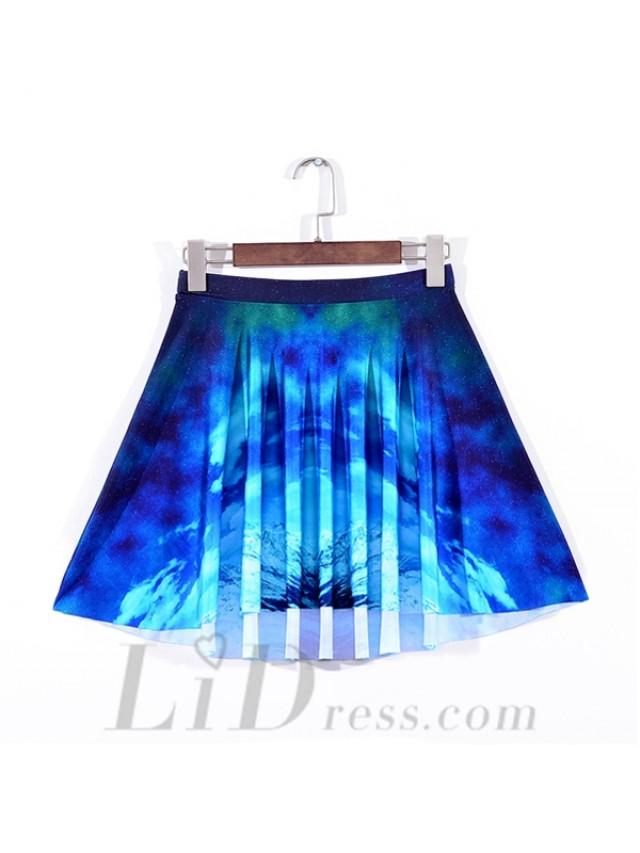 wedding photo - Gifts Best Selling Womens Fan Series With Digital Printing Blue Nebula Pleated Skirts Skt1111