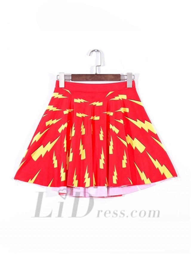 wedding photo - Summer Sky Digital Printing On Red Pleated Yellow Lightning Skirts Skt1110
