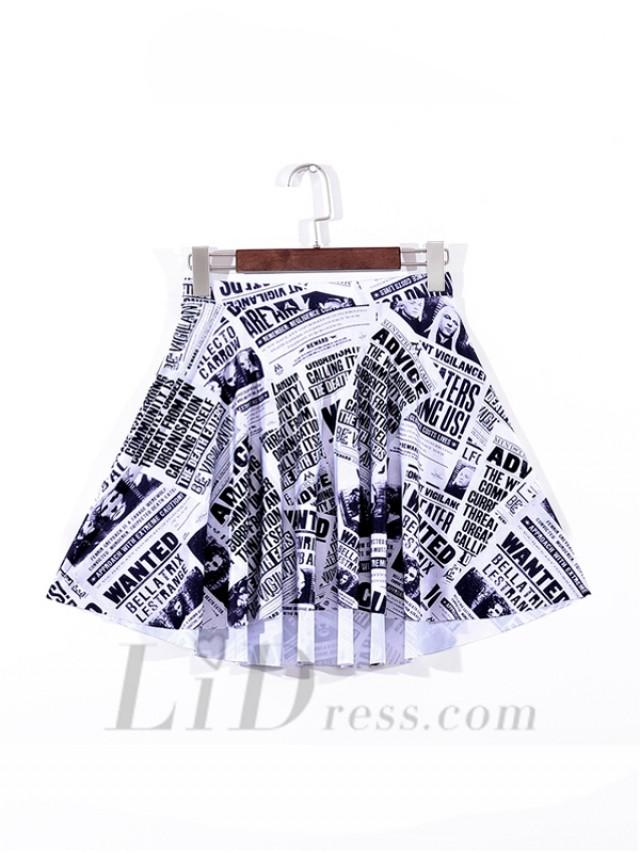 wedding photo - White Digital Printing Hot Selling Newspaper Pleated Skirts Skt1109