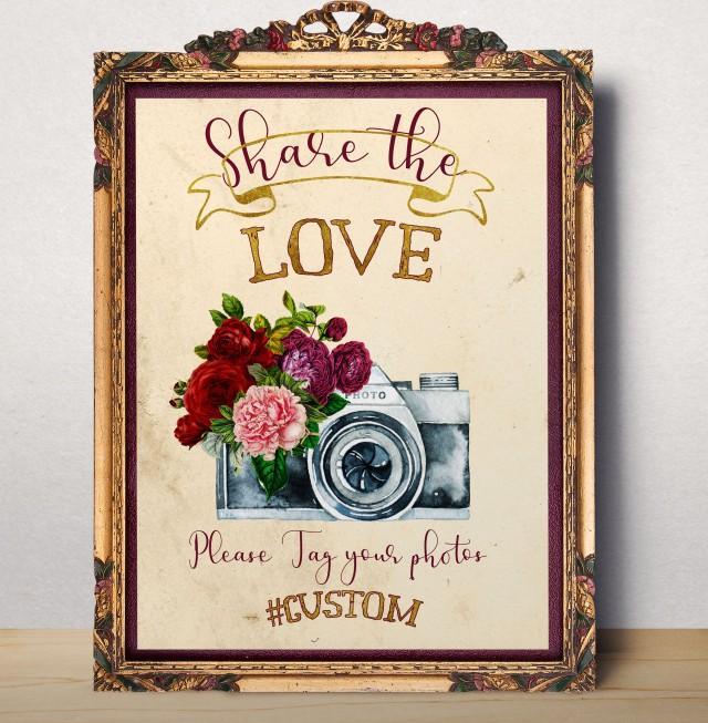 wedding photo - Wedding Hashtag Sign Instagram Sign Share the love Printable Hashtag Sign Custom Wedding Instagram Horizontal Chalkboard Wedding signage