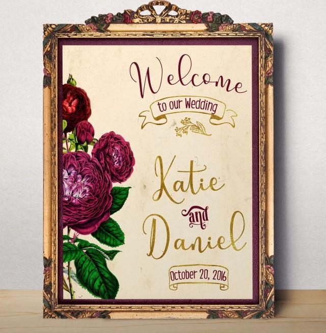 wedding photo - Wedding sign Printable Wedding Welcome sign Welcome to our wedding Custom Wedding Sign Floral wedding sign printable Welcome Poster idw15