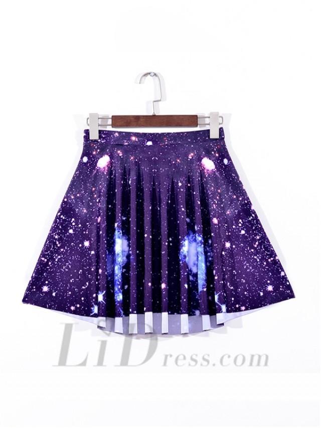 wedding photo - Purple Star Sky Digital Emoji Pleated Skirt Skt1099