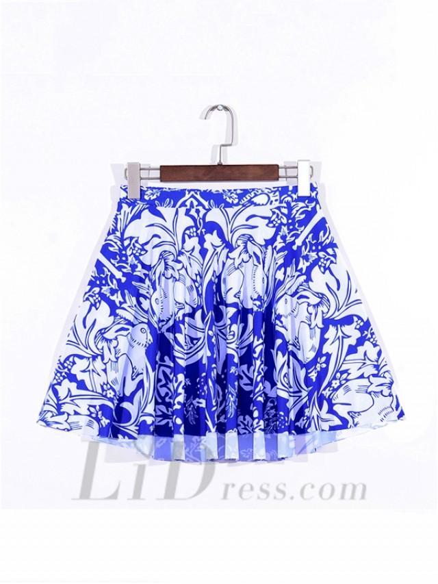 wedding photo - White Hot Fig Pleated Digital Print Skirt Skt1095