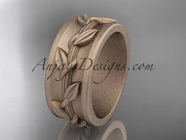 wedding photo - 14kt rose gold engagement ring, matte finish wedding band ADLR417G
