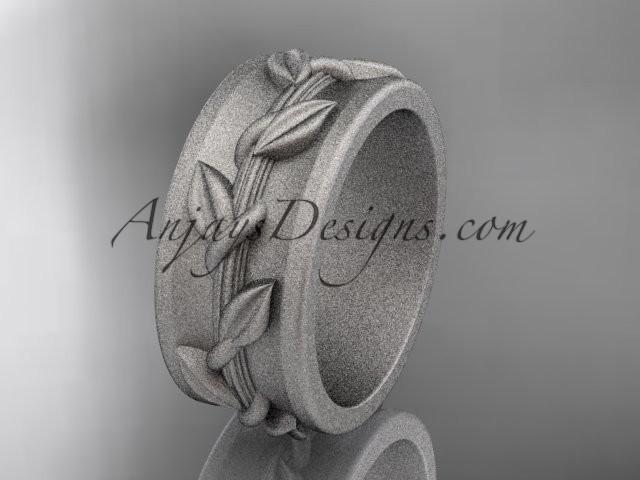 wedding photo - 14kt white gold engagement ring, matte finish wedding band ADLR417G