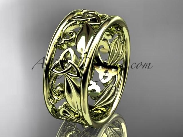 wedding photo - Spring Collection, Unique Diamond Engagement Rings,Engagement Sets,Birthstone Rings - 14kt yellow gold celtic trinity knot engagement ring wedding band