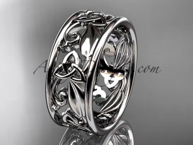 wedding photo - Spring Collection, Unique Diamond Engagement Rings,Engagement Sets,Birthstone Rings - 14kt white gold celtic trinity knot engagement ring wedding band
