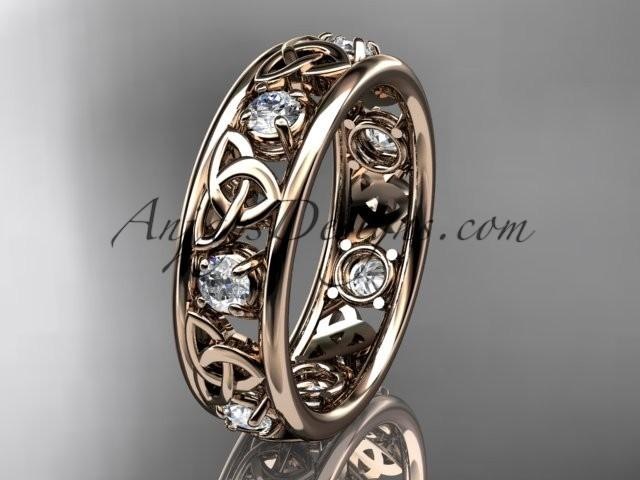 wedding photo - Spring Collection, Unique Diamond Engagement Rings,Engagement Sets,Birthstone Rings - 14kt rose gold celtic trinity knot engagement ring wedding band