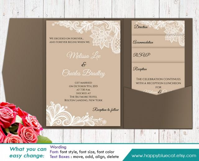 DiY Printable Pocket Wedding Invitation Template SET Instant - Wedding invitation templates: blank wedding invitation templates for microsoft word