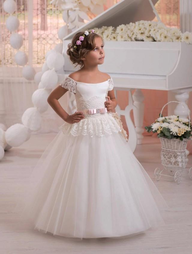 Ivory flower girl dress tulle flower girl dress toddler for Little flower girl wedding dresses