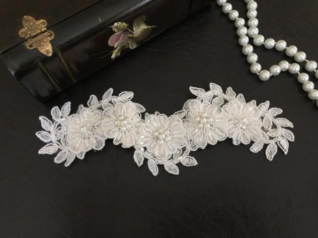 Bridal Hair Accessories Wedding Head Piece Ivory Beaded Lace Pearl Snap Clip #2560665 - Weddbook