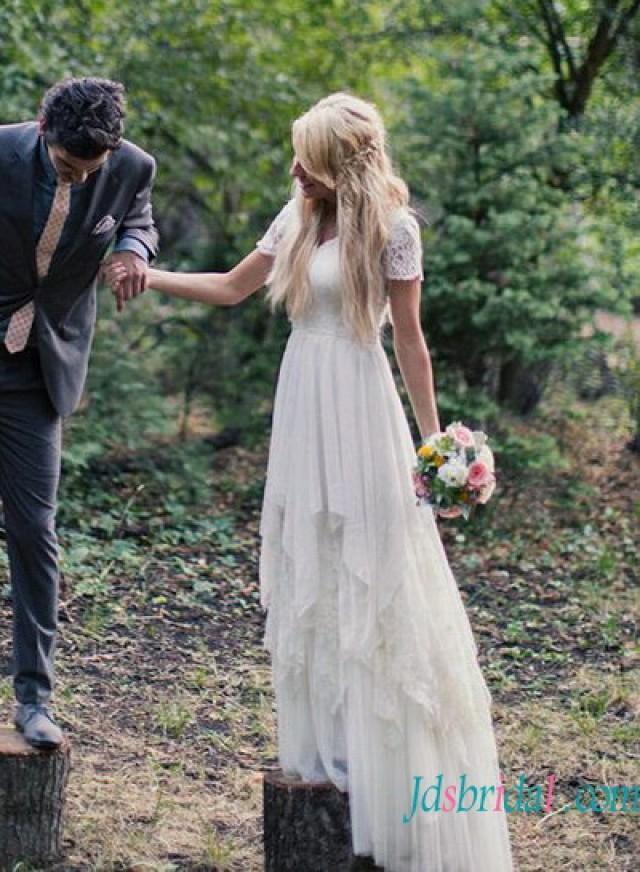H1535 romance bohemian flowy chiffon lace wedding dress for Plus size flowy wedding dresses