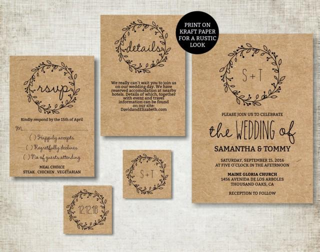Digital Wedding Invitation Ideas: Wedding Invitation Template, Classic Wreath Wedding Invite
