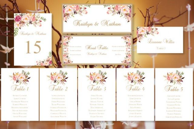 Wedding Seating Chart Romantic Blooms Floral Table Sign Templates - Wedding invitation templates: wedding place card size