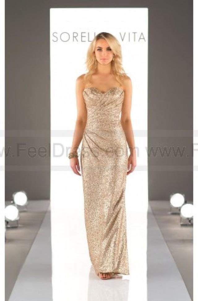wedding photo - Sorella Vita Floor Length Sequin Metallic Bridesmaid Dress Style 8794