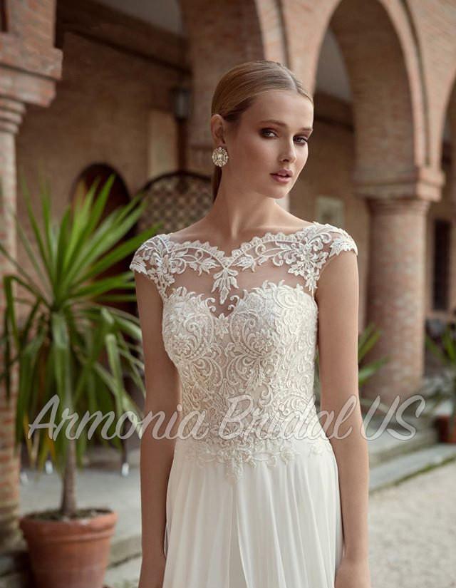 Wedding Dress Lace White Off White Wedding Dress Sweep Train Wedding Dress Bridal Gown