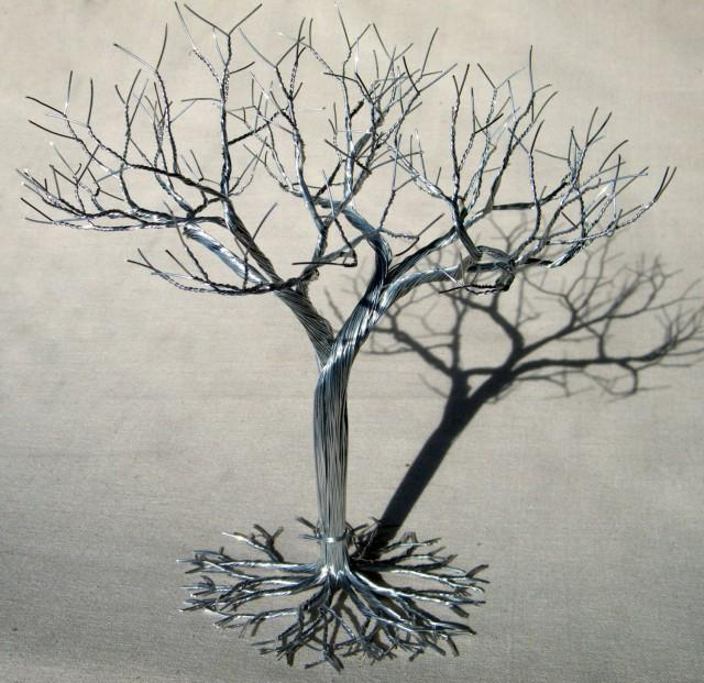 Wedding cake topper wire tree sculpture earring jewelry for How to make a wire tree of life sculpture