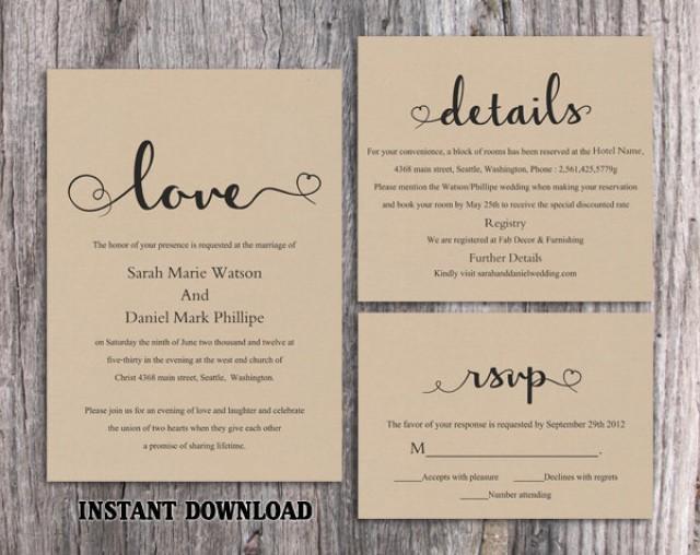 Free Rustic Wedding Invitation Templates: DIY Burlap Wedding Invitation Template Set Editable Word