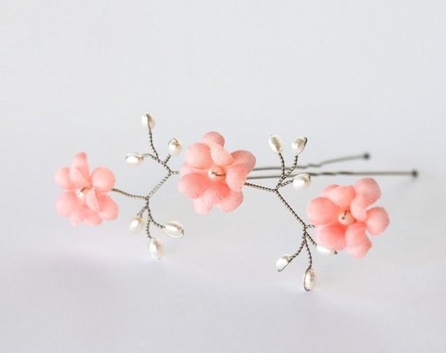 wedding photo - Coral flowers, Hair flowers pin, Bridal hair pin, Bright pink flowers, Coral wedding hair accessories, Flowers hair pin, Wedding flower.