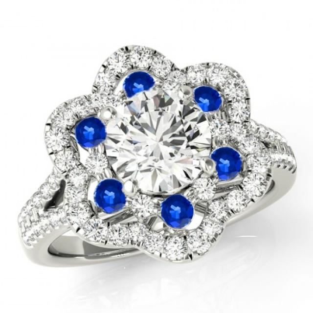 wedding photo - Forever One Moissanite, Diamond & Sapphire Flower Lotus Engagement Ring Split Shank 14k White Gold, Gemstone and Moissanite Anniversary Ring