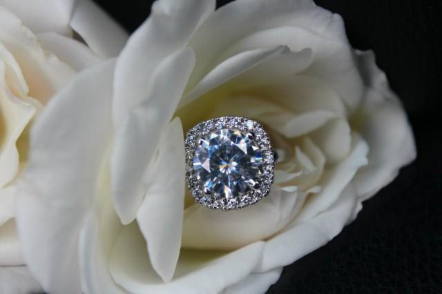 wedding photo - 3 CT Moissanite Solitaire Engagement Ring, Diamond Halo, Cushion Halo, Round Gemstone, 9mm Forever One Moissanite & Cushion Diamond Halo Ring