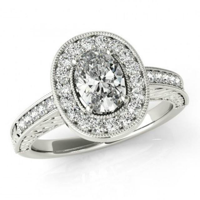 wedding photo - Oval Moissanite & Diamond Halo Engagement Ring 14k, 18k or Platinum Vintage Style Engagement Rings Antique Art Deco Settings, Designs