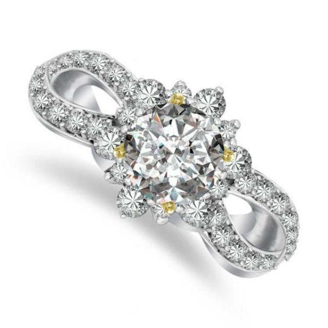 wedding photo - Forever One Moissanite Flower Vintage Forever One Moissanite & Diamond Ring 14k, 18k or Platinum, Cyber Monday, Black Friday Jewelry, Christmas Gifts