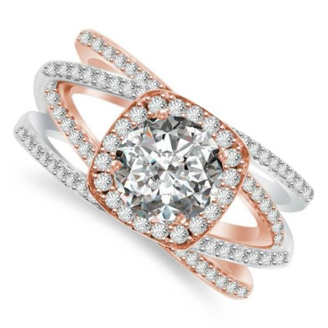 wedding photo - 1 Carat Round Forever One Moissanite & Multi-Row Diamond Cushion Halo 14k Two Tone Engagement Ring, Rose Gold, Pink Wedding Rings