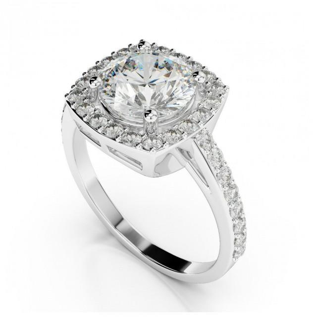 wedding photo - 1 Carat Forever One Moissanite & Cushion Diamond Halo Engagement Rings, Cushion Halo Round Moissanite 1 ct, 1 carat, Wedding Bridal Rings