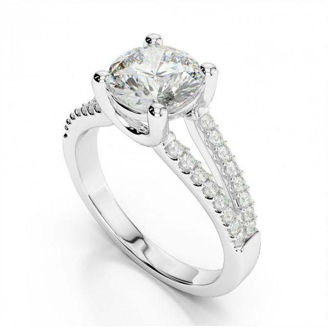 wedding photo - 1 Carat Forever One Moissanite & Diamond Split Shank Ring 14k, 18k or Platinum Hollywood & Highland, Jewelers, Beverly Hills