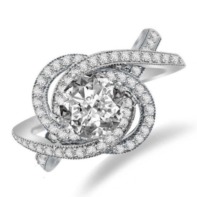 Forever One Moissanite U0026 Diamond Swirl Halo Engagement Ring Moissanite Bridal Jewelry ...